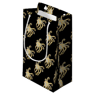 Blue Ring Octopus on Black Small Gift Bag
