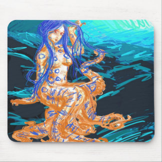 Blue Ringed Lady Mouse Pad