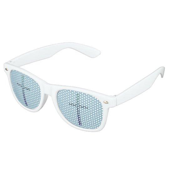 Blue Rippled Cross-Religious Retro Sunglasses