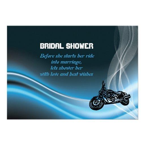 Blue road biker wedding bridal shower invitation invites