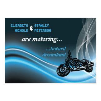 Blue road biker wedding invitation