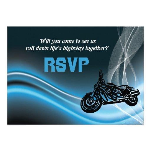 Blue road biker wedding RSVP response card Custom Invitations