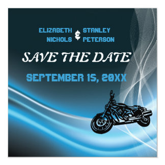 Blue road biker wedding Save the Date announcement