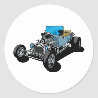 Blue Roadster Round Sticker