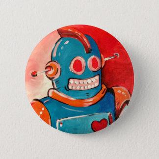 Blue Robot 6 Cm Round Badge
