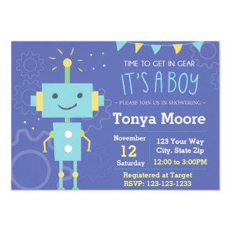 Blue Robot Baby Shower Invitation