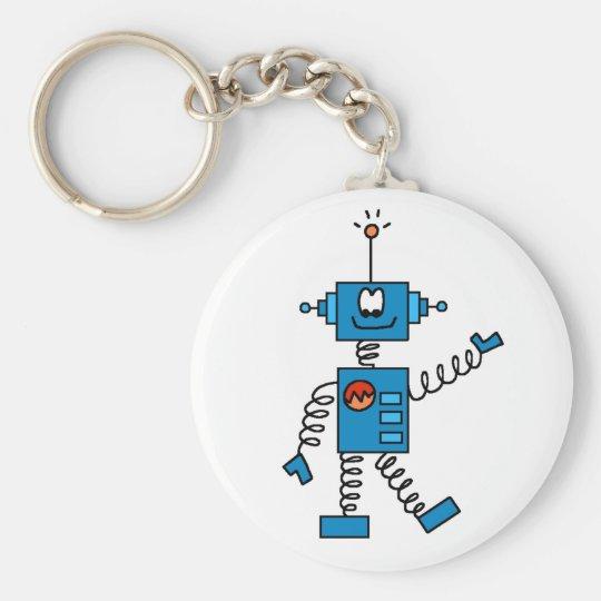 Blue Robot Basic Round Button Key Ring
