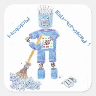 Blue robot birthday stickers