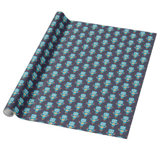 Blue Robot Birthday Wrapping Paper