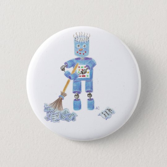 Blue robot button