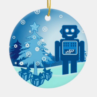 Blue Robot Chritsmas Christmas Ornament