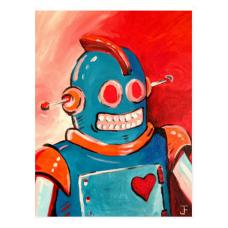 Blue Robot Postcard