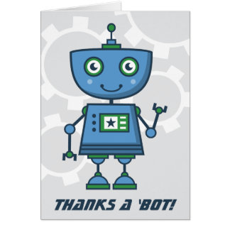 Blue Robot Thank You Cards | Thanks a 'bot!