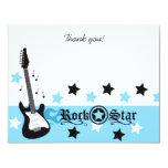 Blue Rocker Rock Star 4x5 Flat Thank you note 11 Cm X 14 Cm Invitation Card