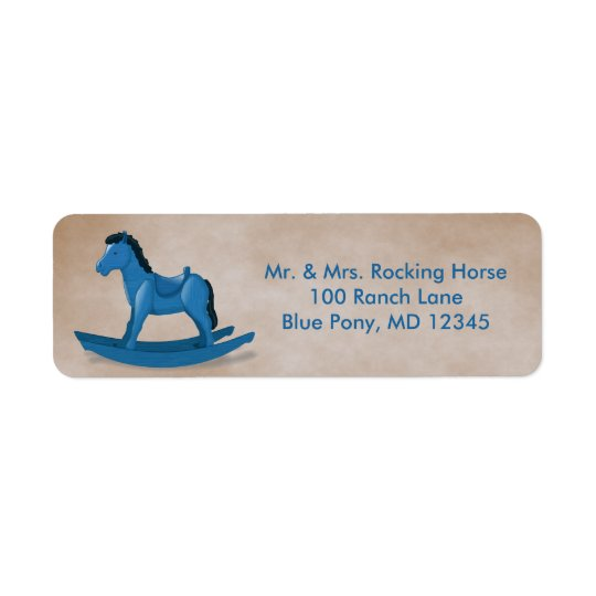 Blue Rocking Horse Baby Boy Custom Return Address Label