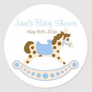 Blue Rocking Horse Baby Shower Stickers