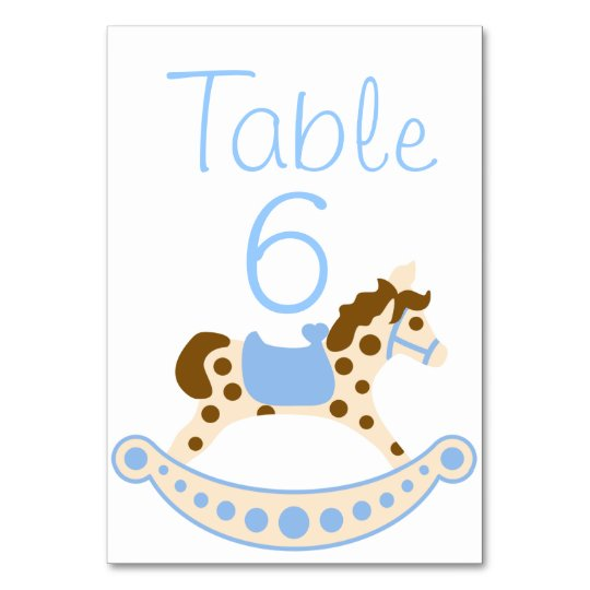 Blue Rocking Horse Baby Shower Table Numbers