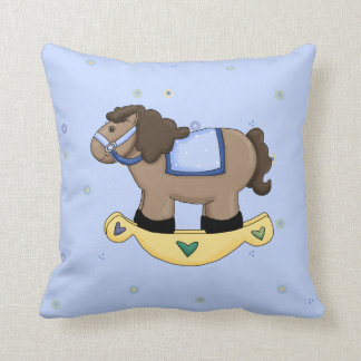 Blue Rocking Horse Pillow