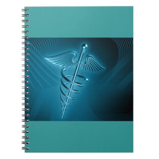Blue Rod of Asclepius Spiral Notebook