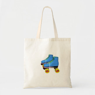 Blue Roller Skates in retro style Budget Tote Bag