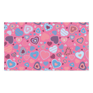 blue romance - tiny hearts pattern business card
