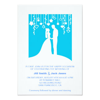 Blue Romantic Couple Silhouette Modern Wedding 13 Cm X 18 Cm Invitation Card