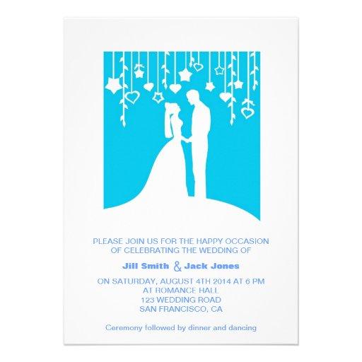 Blue Romantic Couple Silhouette Modern Wedding Personalized Invite