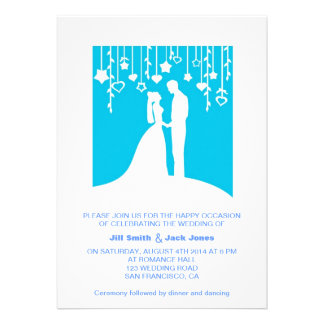 Blue Romantic Couple Silhouette Modern Wedding Personalized Invite