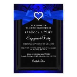 Blue Romantic Heart Engagement Party Invitation