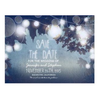 blue romantic night lights vintage save the date postcard