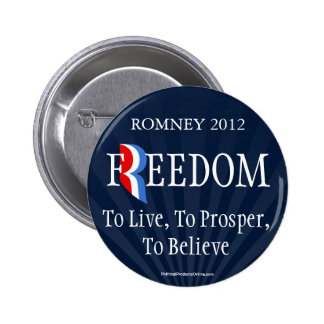 Blue Romney Freedom Lapel Pin Button