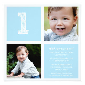 Blue Room for Squares First Birthday Party Photo 13 Cm X 13 Cm Square Invitation Card