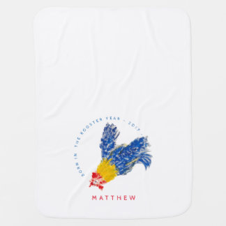 Blue Rooster 2017 Child Painting Baby Blanket