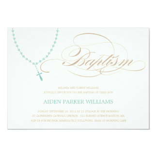 BLUE ROSARY BEADS | BAPTISM INVITATION