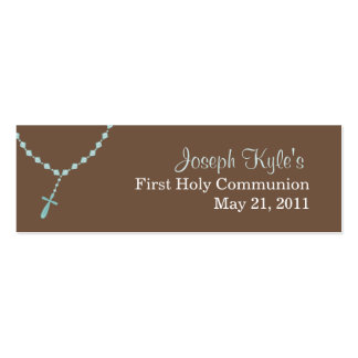 Blue Rosary Small Tag Business Cards