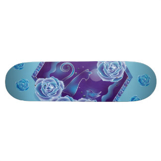 Blue rose and blue cat blue rose blue cat skateboard