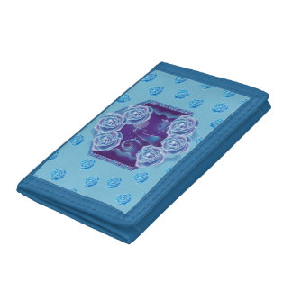 Blue rose and blue cat blue rose blue cat trifold wallets