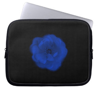 Blue Rose, Black Background. Laptop Sleeve