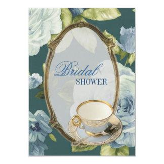 "blue rose Bridal Shower Tea Party Invitation 4.5"" X 6.25"" Invitation Card"