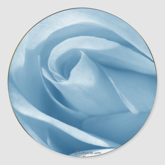 Blue Rose Bud Wedding Invitation Seal Round Sticker