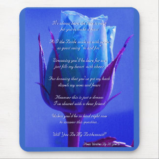 Blue Rose Delight Will You Be My Bridesmaid Mouse Pad