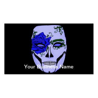 Blue Rose Floral Skull Mask Dia De Los Muertos Double-Sided Standard Business Cards (Pack Of 100)