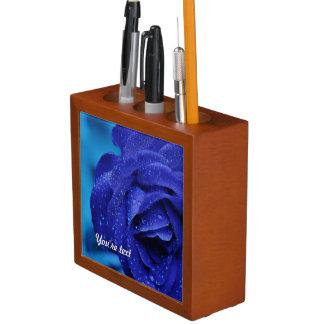 Blue rose flower desk organiser