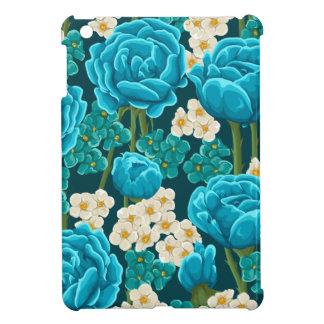 Blue rose flower retro vintage illustrated pattern iPad mini cover