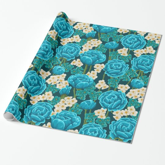 Blue rose flower retro vintage illustrated pattern wrapping