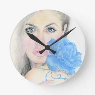 Blue Rose Girl Illumination Round Wallclocks