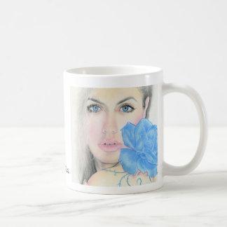 Blue Rose Girl Illumination Basic White Mug