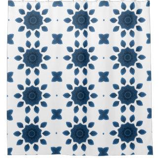 Blue Rose Kaleidoscope Pattern Shower Curtains