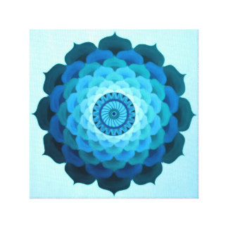 Blue rose mandala canvas print