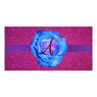 Blue rose monogram pink glitter photo card